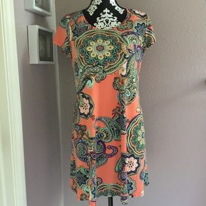 MSK Petite Coral Paisley Swing Dress Size PL